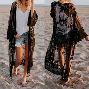 Other - Cover up black lace beach boho kimono cardigan